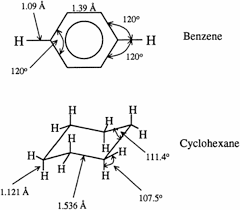 Chair Conformations Of Cyclohexane chemical structures of benzene top and cyclohexane bottom