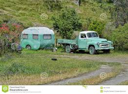 Old Vinatge Camper And Truck Stock Photo - Image Of Vintage, Truck ...