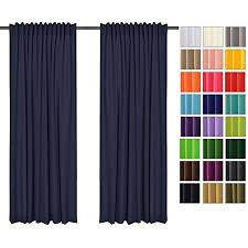 sonnenschutz und sichtschutz 2er pack vorhänge mit tunnelband dunkel blau 16 135x175 cm bxh dekorative blickdicht 2 stücke gardinen vorhang