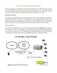 How To Find The Best Sip Trunk Provider By Switch2Voip - Issuu