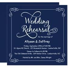 Midnight Blue Wedding Rehearsal Invitation