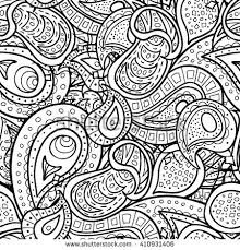 Boho Paisley Doodle Seamless Pattern Coloring Book For Adult And Children Page