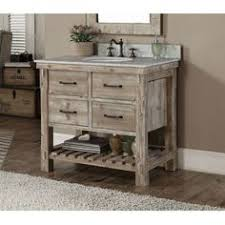 This Rustic Style Bathroom Vanity Features With Tip Out Trays Soft Closing Drawres