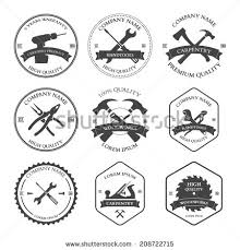 Vintage Carpentry Tools Labels And Design Elements Icons Set Vector Illustration
