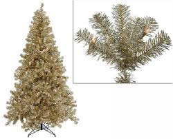 Pre Lit Pencil Christmas Trees by 7 U0027 Pre Lit Champagne Artificial Tinsel Christmas Tree Clear