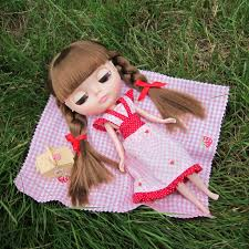 blythe summer picnic dress with pink gingham strawberries and