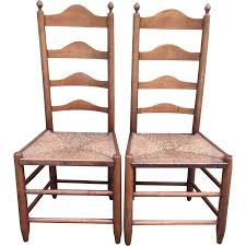 Tall Ladder Back Chairs With Rush Seats by Antique Pair Of 18th Century Ladderback Chairs Rush Seats American
