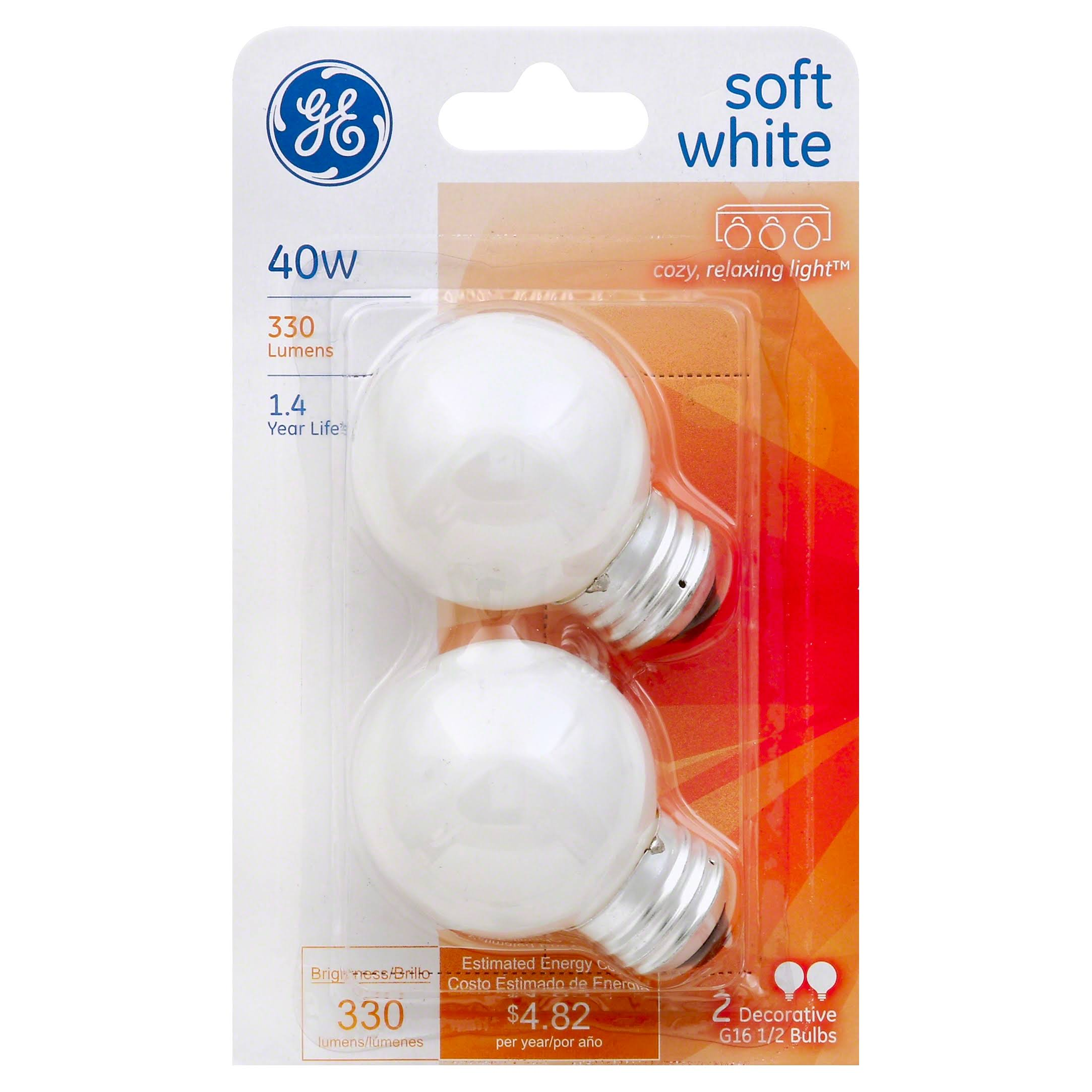 GE Lighting 31110 Incandescent G16.5 Globe Light Bulb - Soft White, 40W, 2pk