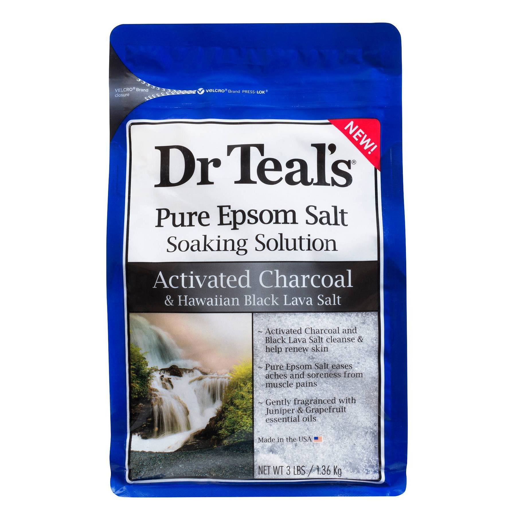 Dr Teal's Soaking Solution Activated Charcoal and Black Lava Salt - 3lbs
