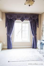 Pennys Curtains Valances by Renaissance Arabesque Purple Paris Salon Cascade Swag Valance
