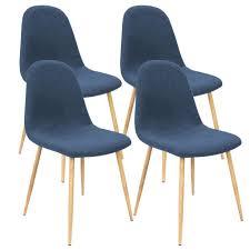 deuba 4er set esszimmerstühle küchenstühle gepolstert 120 kg belastbar stoff bezug wohnzimmerstuhl design farbe blau