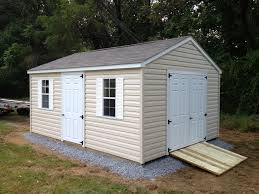 Wood Storage Sheds 10 X 20 by Peak Roof Vinyl Storage Shed With Gravel Site Preparation And Ramp