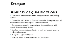 Key Qualifications Resume Sample Summary Of For Alifications Example Summ