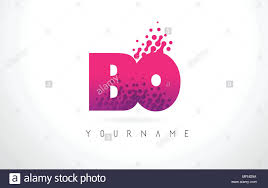 100 By Bo Design BO B O Letter Logo With Pink Letters And Purple Color