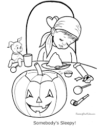 Printable Boy Halloween Coloring Page