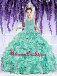 ruffles and beaded decorate little pageant dress in apple
