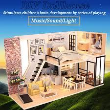 Hoomeda DIY Mini Dream House Wood Dollhouse Miniature With LED