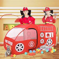 Fire Truck Kids Play Tent Kids Room Decor Playhouse Indoor Outdoor ...