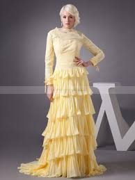 full length lace and chiffon long sleeve evening dress with