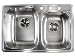 Overmount Double Kitchen Sink by 33 Inch Top Mount Drop In Stainless Steel Double Bowl Kitchen