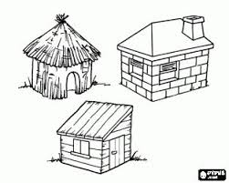 Three Little Pigs Houses Coloring Pages Sketch Page
