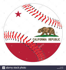 A New White Baseball With Red Stitching The California State Flag Overlay Isolated On