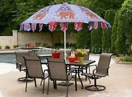 Image Is Loading Elephant Embroidered Colorful Garden Large Umbrella Sun Patio