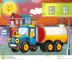 Happy And Funny Cartoon Cistern Truck Looking And Smiling Driving ...