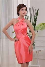 sheath column short mini halter side draped dress
