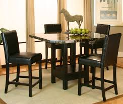 Black Color 5 Piece Pub Style Table With Storage And Faux ...