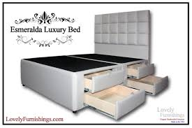 King Platform Bed With Fabric Headboard by Esmeralda Luxury Bed 8 Drawers Lovely Furnishings Storage