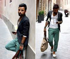 Summer Casual With Navy Blazer And Colored Pants
