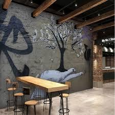 benutzerdefinierte vintage retro 3d wallpaper mural graffiti buchstaben schwarz weiß esszimmer lounge esszimmer ktv tapete alten betonwand