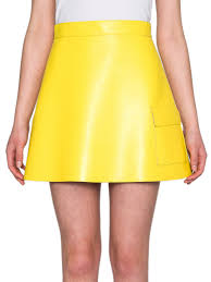 yellow leather mini skirt dress ala