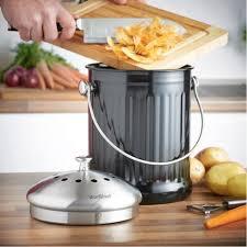 küchenkompostierer aus edelstahl mit aktivkohlefilter 4 5 liter