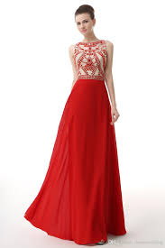 real model photos 2017 new arrival red beaded a line evening party