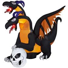 halloween airblown inflatable 7 ft two headed dragon with flaming