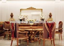 Luxurious Elegant Golden And Brown Carving Round Dining Table Set With Buffet Chairs BF12