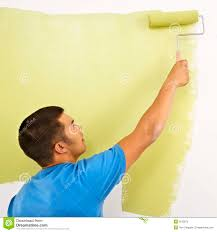 Man Painting Wall Stock Photo Image Of Design Adults