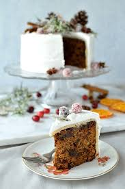 Gingered Christmas Fruitcake With Royal Icing Pine Cones Dried Orange Slices Spices And