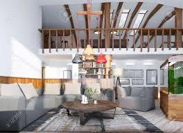 wohnzimmer mit einem aquarium und einer zweiten ebene mit einem billardraum auf dem dachboden 3d übertragen