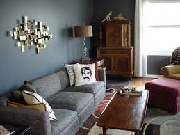 unique table l two white window blinds grey living room walls