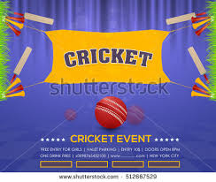 Cricket Event Poster Background Vector Spotlights Banner Info Postcard Design And Typographic Sports Ad