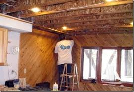 a suspended timber ceiling