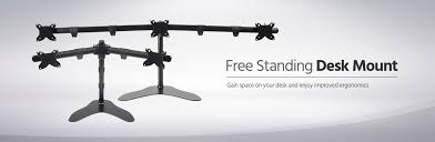 Dual Monitor Stand Up Desk by Dual Monitor Free Standing Desk Mount 15 30 In Monoprice Com