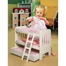 Badger Basket Pink Gingham Princess Doll Bunk Bed with Wheeled