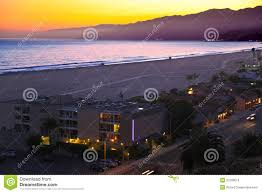 Santa Monica Beach At Night California Stock Photo