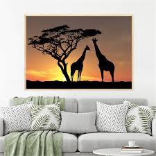 home decor afrika giraffen sunset landschaft baum poster und drucke leinwand gemälde für wohnzimmer dekoration