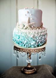 Beach Wedding Theme Cake Ombre Ruffled Frosting See More Here