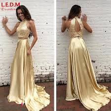 online get cheap two piece long prom dress black and gold